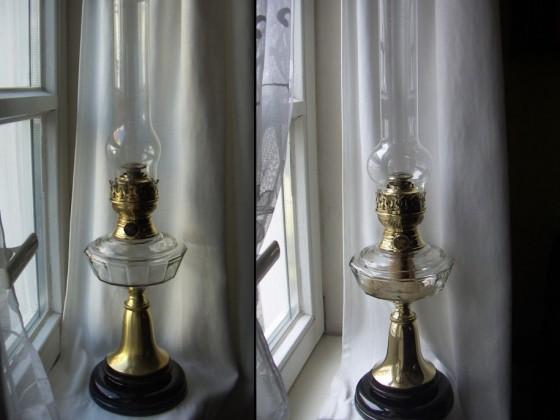 IDEAL-BRENNER 20''' von Brökelmann, Jaeger & Busse/Neheim mit Glas-Bassin (Petroleum-Tischlampe)