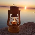 Sturmkappe beim Sonnenuntergang an der Adria