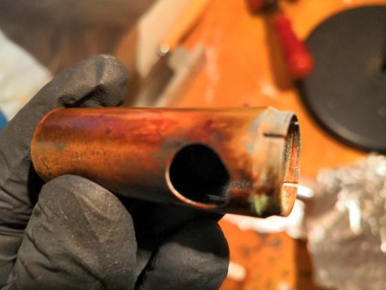 Maße des Flammschutzrohr aus Petromax 828/300 mit Drehrapid, Baujahr 1936-1939