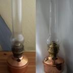 IDEAL-BRENNER 20''' von Brökelmann, Jaeger & Busse/Neheim mit Kupfer-Bassin (Petroleum-Tischlampe)